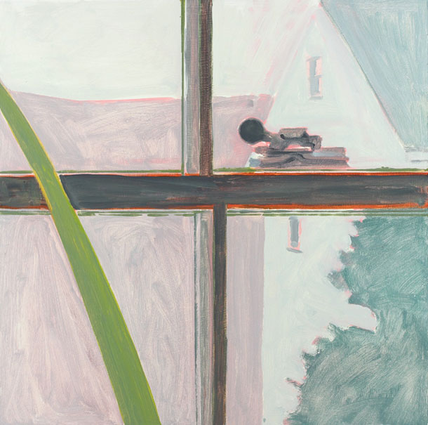 WINDOW CROSSPIECE 2014 oil on masonite 12 x 12 inches ©Lois Dodd, courtesy Alexandre Gallery, New York